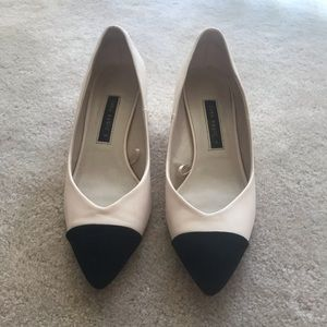 Zara blush and black block heel